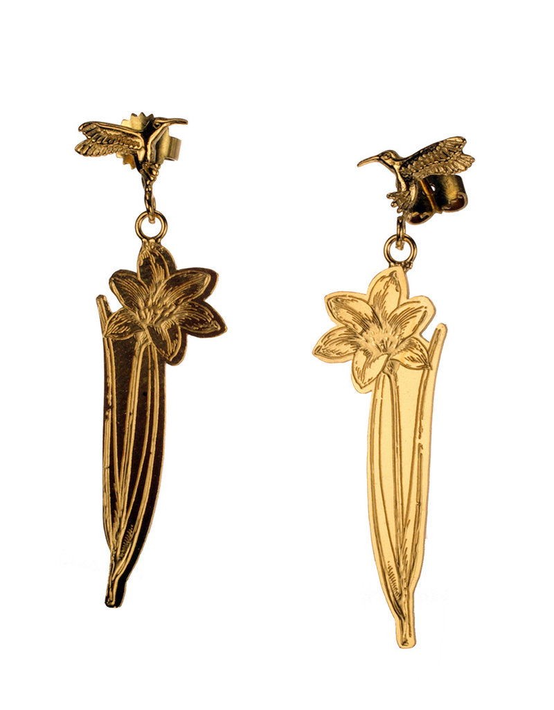 Rebels & Icons Post earrings pendant hummingbird & lily