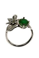 Rebels & Icons Ring bloem, blad & groene onyx