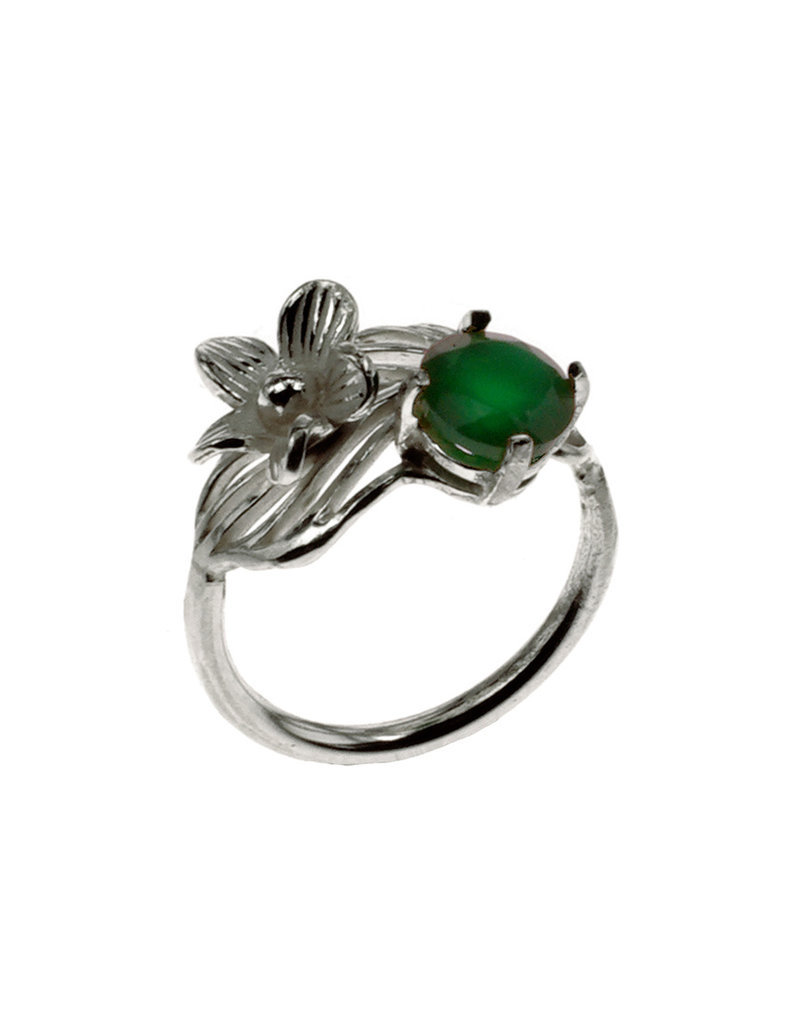 Rebels & Icons Ring flower, leaf & green onyx