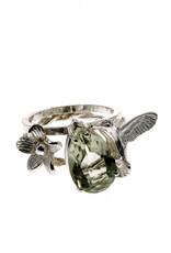Rebels & Icons Ring bloem, kolibrie & groene amethist
