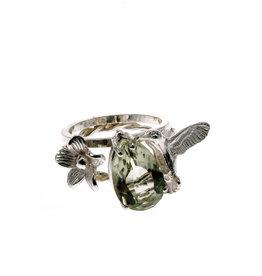 Rebels & Icons Ring flower, hummingbird & green amethyst