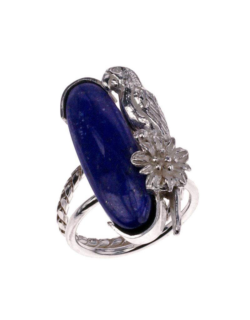 Rebels & Icons Ring parrot & lapis lazuli