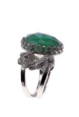 Rebels & Icons Ring roos, toekan & groene amethist