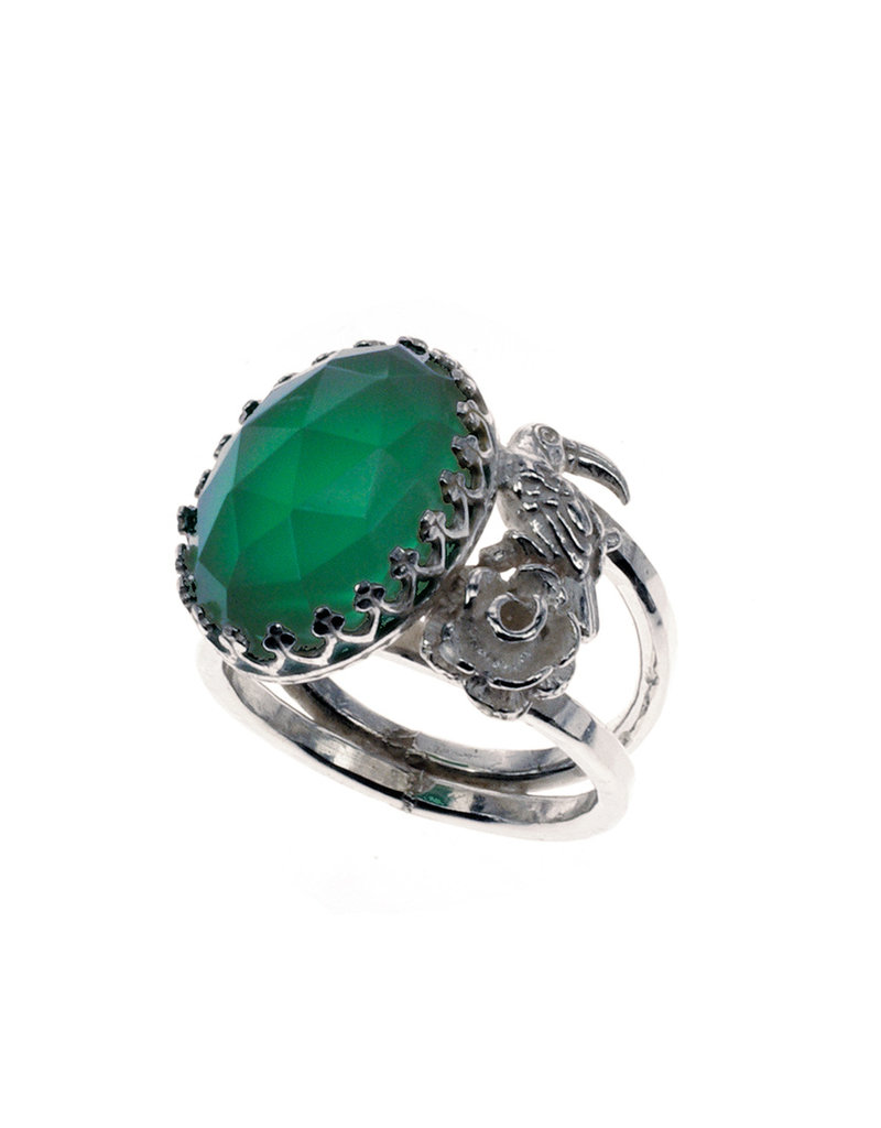 Rebels & Icons Ring rose, toucan & green amethyst