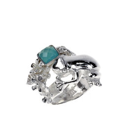 Rebels & Icons Ring boomkikker, bloemen & chalcedoon