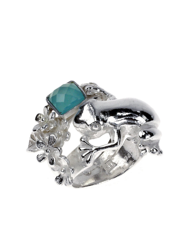 Rebels & Icons Ring tree frog, flowers & chalcedony