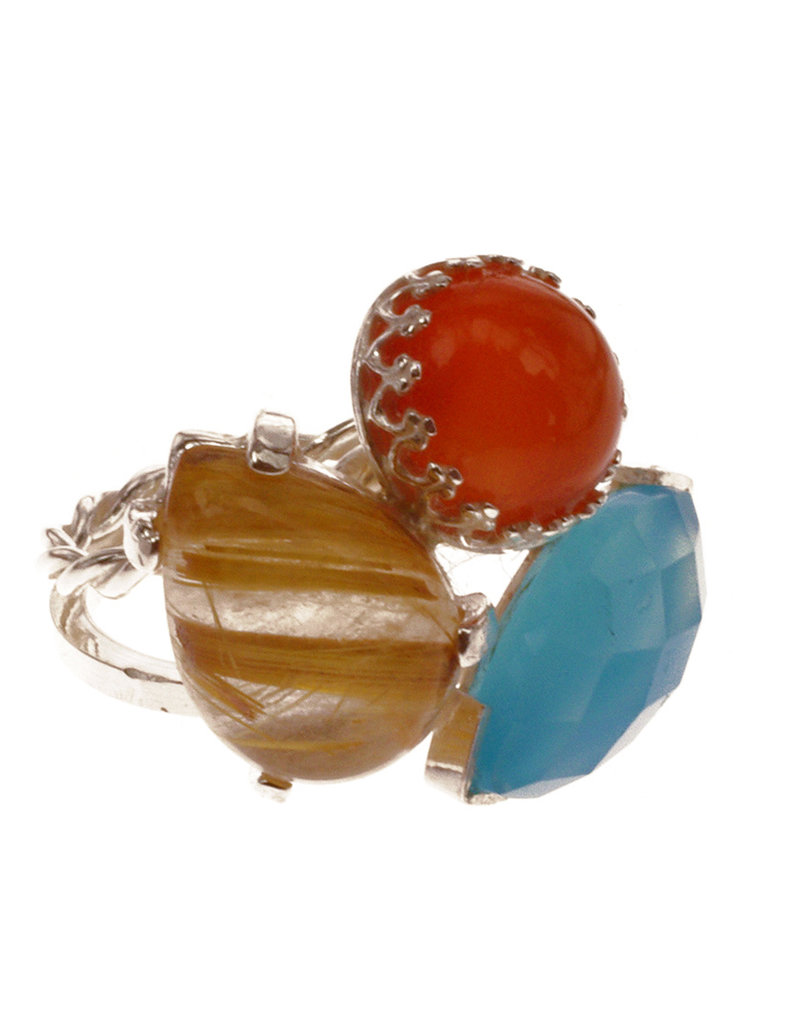 Rebels & Icons  Ring rutilated quartz, chalcedony & carnelian