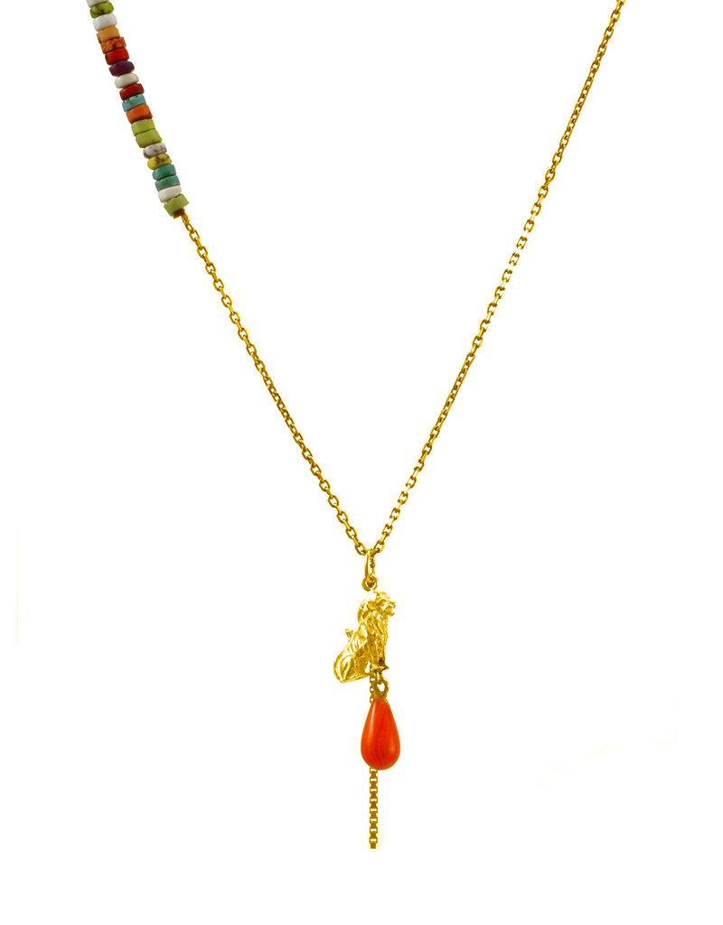 Rebels & Icons Necklace lion & drop