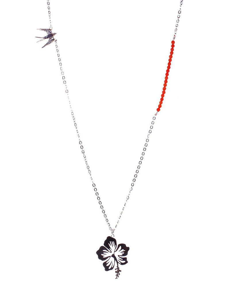 Rebels & Icons Ketting zwaluw & hibiscus
