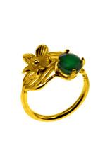 Rebels & Icons Ring flower, leaf & green onyx