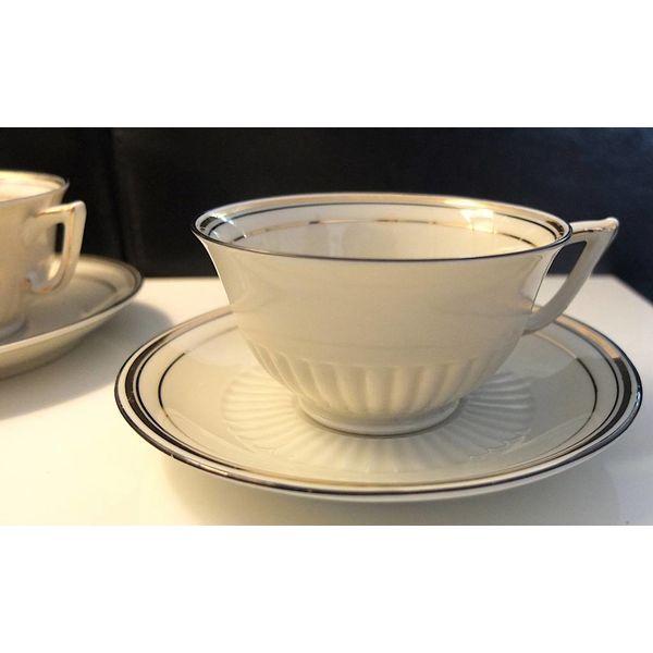 4x vintage koffiekopjes met zilveren rand Bavaria