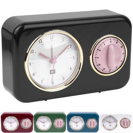 Pt (Present Time) Tafelklok Nostalgia met kookwekker (black/pink)