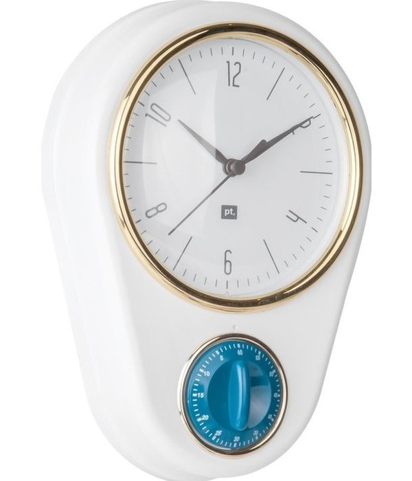 "Pt (Present Time) Wandklok ""Retro"" met timer (wit)"