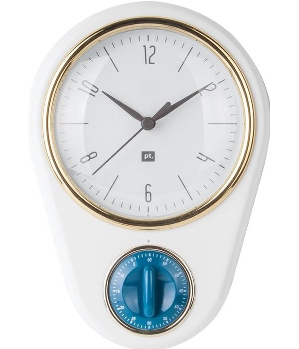 "Pt (Present Time) Wandklok ""Retro"" met timer (pink)"
