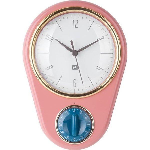 """Wandklok """"Retro"""" met timer (pink)"""