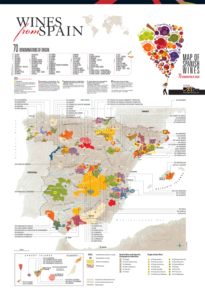 Kaart van de wijnregio's ( D.O. / DOCa )