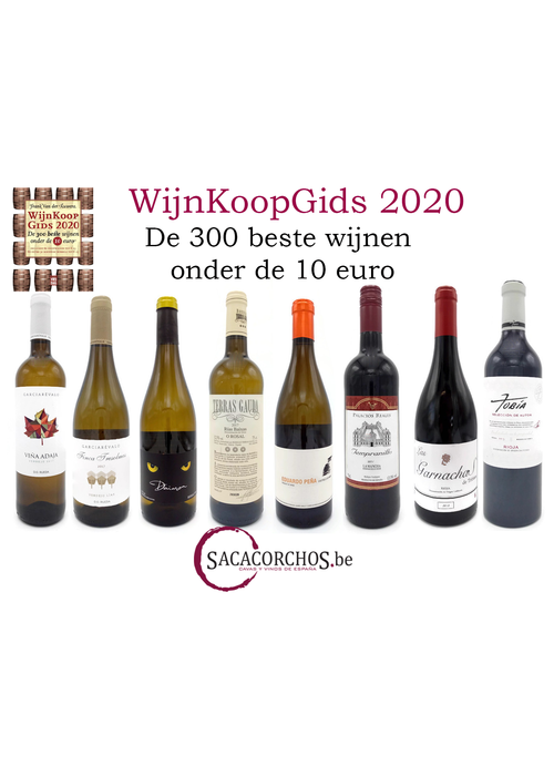 """Divers Collis de 8 vins du """"Wijnkoopgids 2020"""" avec le livre de Frank Van der Auwera"""