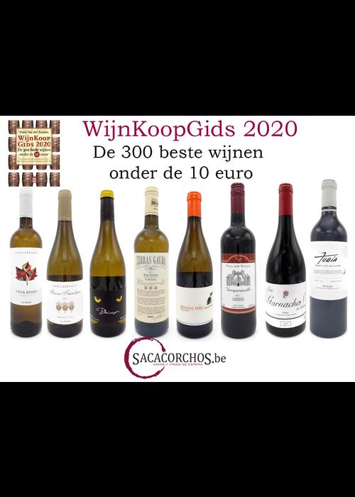 """Divers Pakket van 8 wijnen uit de """"Wijnkoopgids 2020"""" met boek van Frank Van der Auwera"""