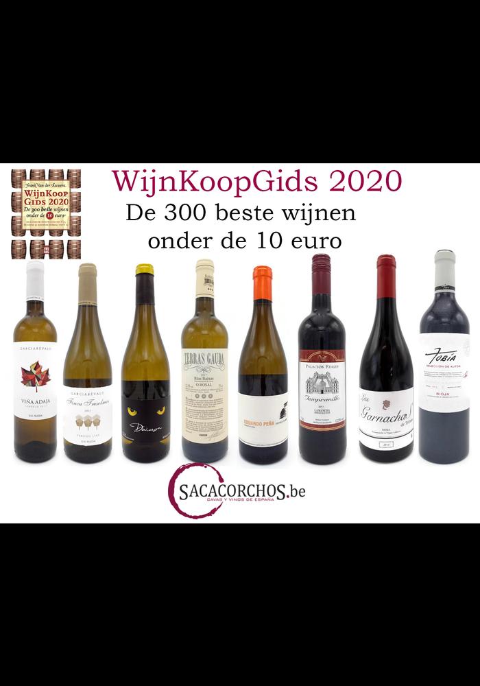 """Pakket 8 Wijnen uit de """"Wijnkoopgids 2020"""" met boek van Frank Van der Auwera"""