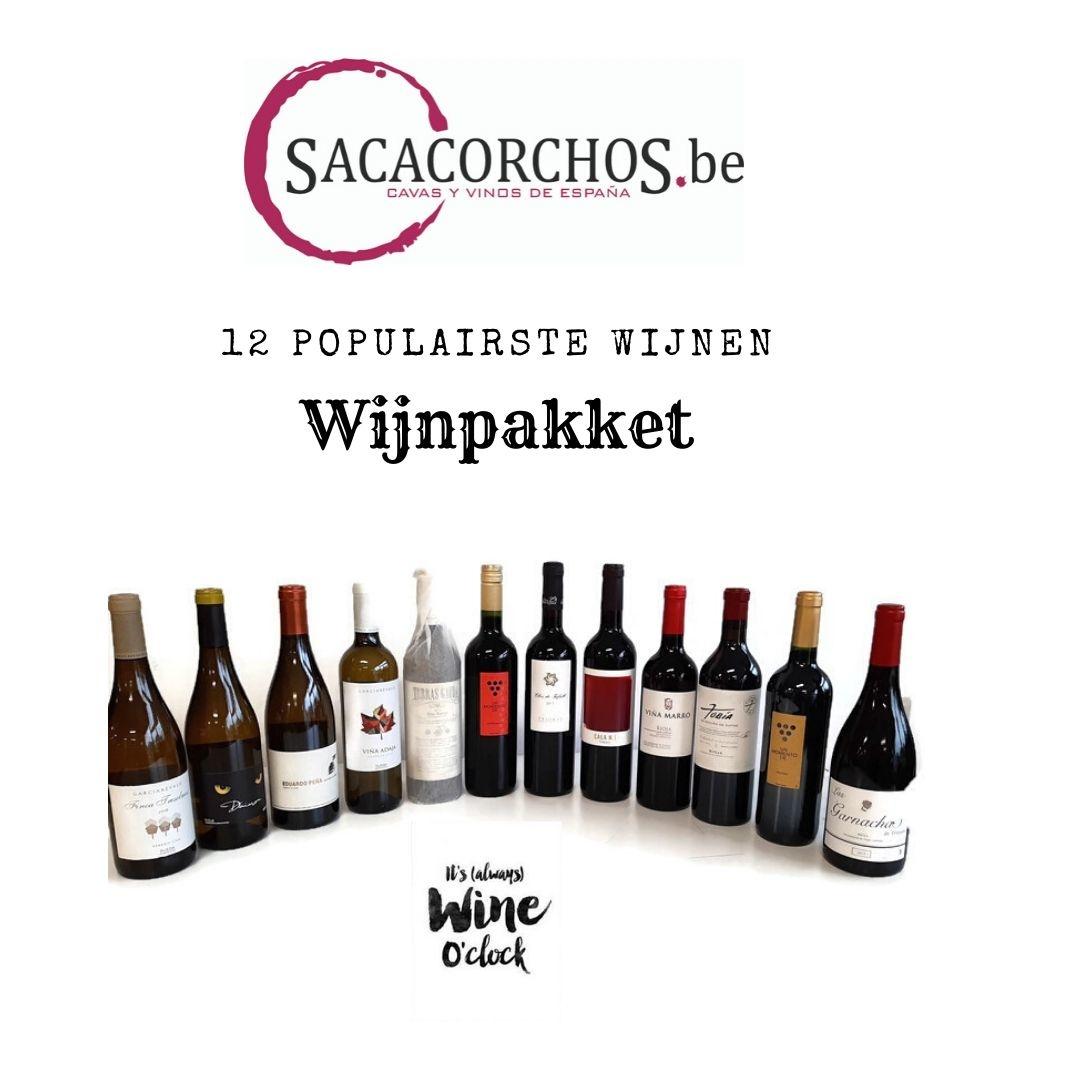 Het pakket met de 12 populairste wijnen van Sacacorchos