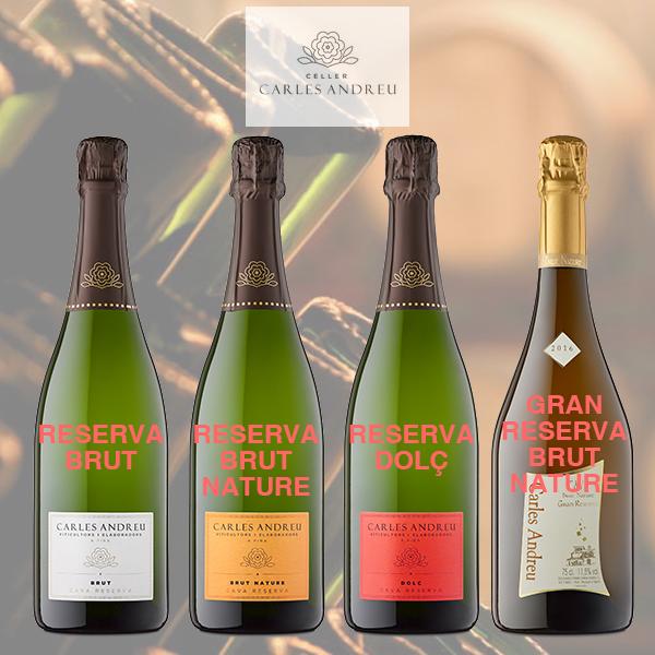 De nieuwe labels op de Cava-flessen van Carles Andreu