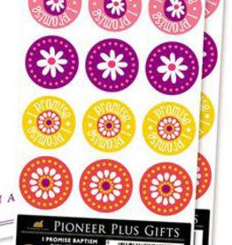 'I promise' baptism girl stickers