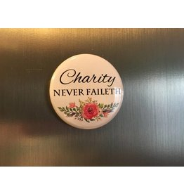 "Charity Never Faileth Magnet 1.5"""