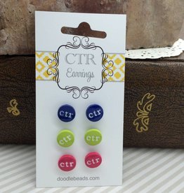 CTR Earrings - Navy, Green & Pink