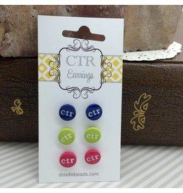 CTR Earrings - Navy, Green & Pink