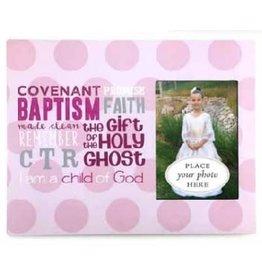 Pink Polka Dots Baptism Frame