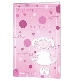 Pink Polka Dots Baptism Greeting Card
