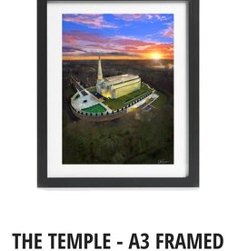 A3 Framed Print - Preston England Temple Arial Photo