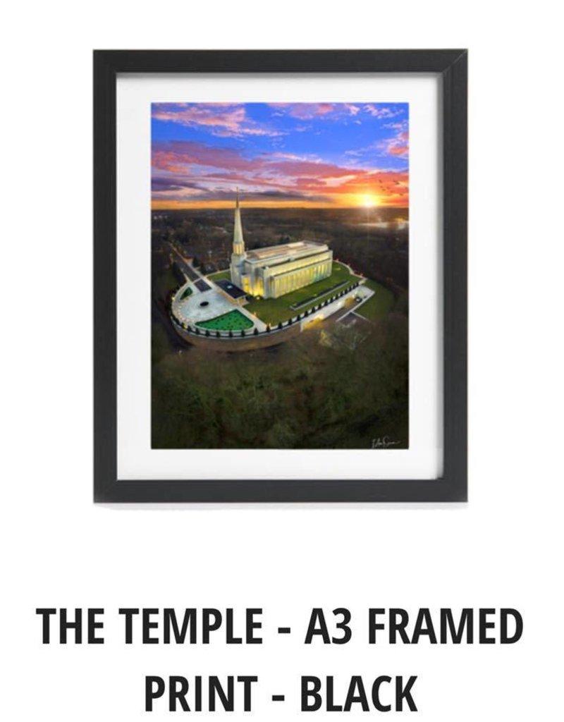 A3 Framed Print - Preston England Temple Arial Photo
