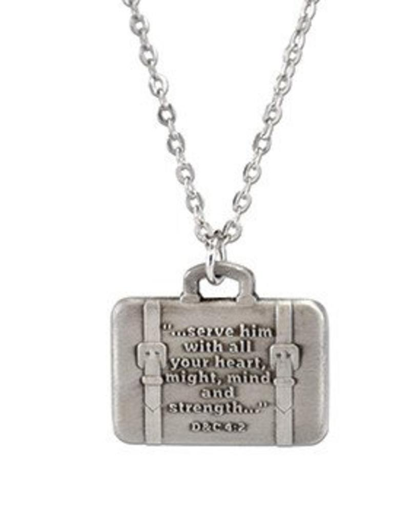 Heart, Might, Mind & Strength Suitcase Necklace