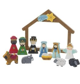 Wooden childrens nativity scene