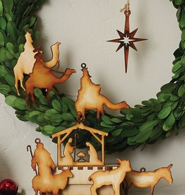Nativity Wood Ornaments set of 8