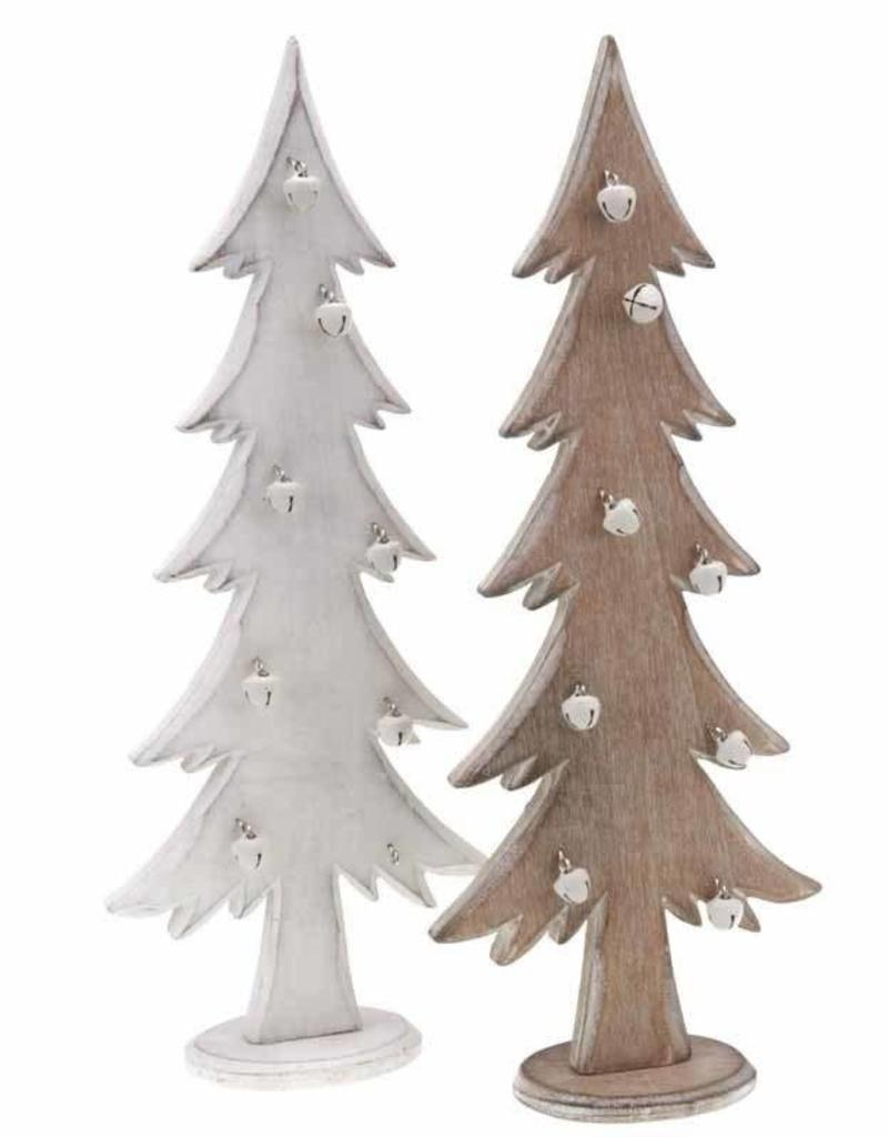 Wooden Christmas Tree With Bells White - ldsbookuk.com