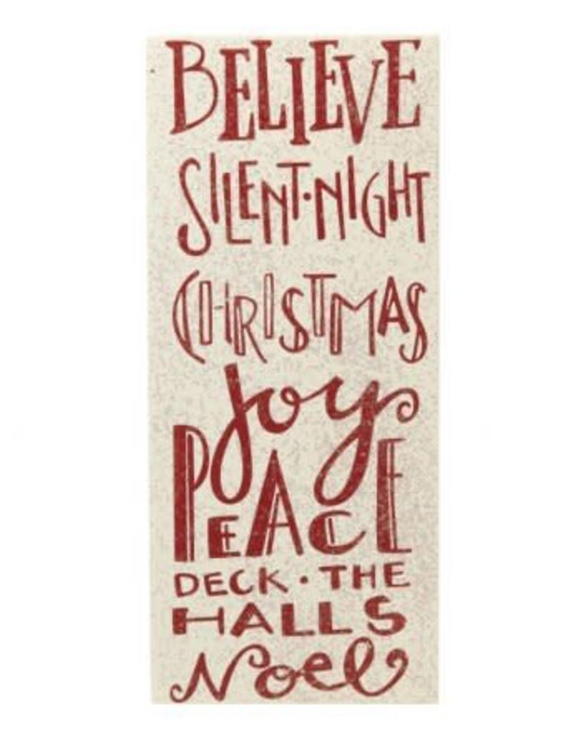 believe red glitter christmas sign