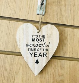 It's The Most Wonderful Time of the Year wooden heart