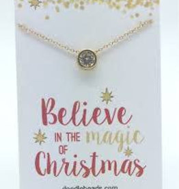 Believe In The Magic of Christmas Golden Gem Necklace