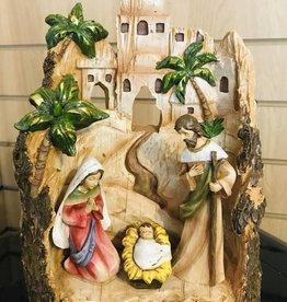 romaninc Roman Inc. Wood Bark Nativity Scene