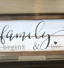 "Family Where Life Begins  wall art wood 6"" x 24"""