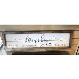"Seagull Books Family Where Life Begins  wall art wood 6"" x 24"""