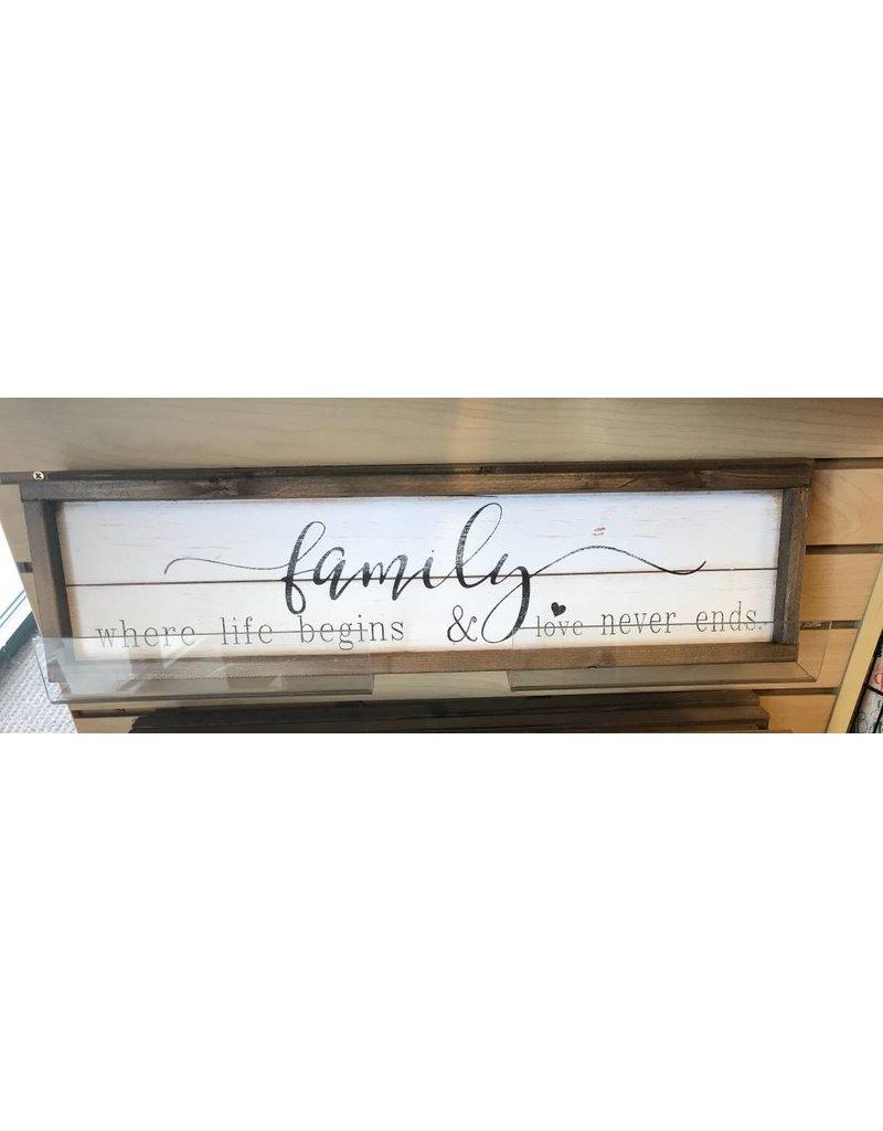"Family Where Life Begins  wall art wood 6"" x 24"""