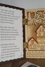Small Christmas Rustic Natural Wood Musical Box With Led Silent Night Keepsake