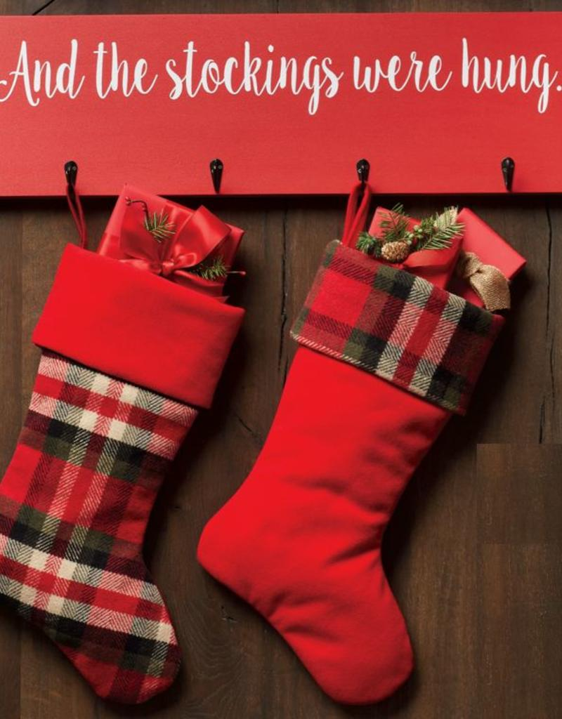 And The Stockings Were Hung Plaque (7 hooks for 7 stockings)