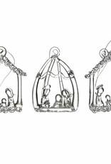 Set of Three Glass Nativity Ornaments