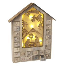 WOODEN LIGHT-UP ADVENT CALENDAR HOUSE
