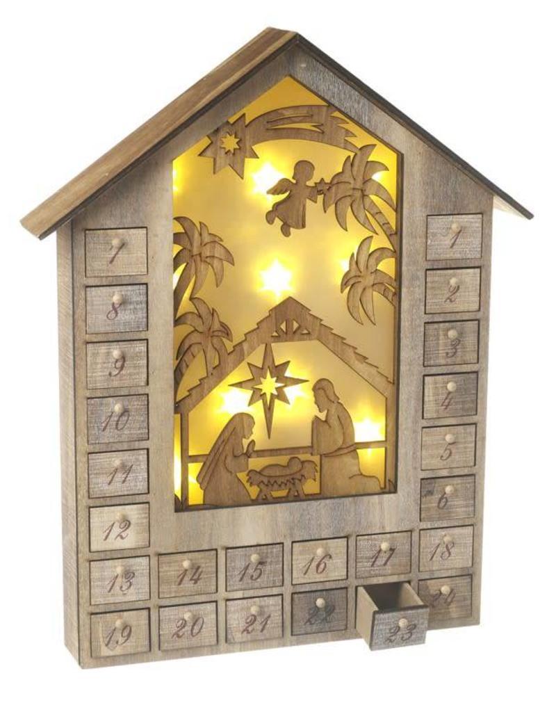 Wooden Light Up Advent Calendar House