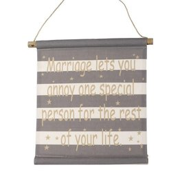 marriage fabric hanging sign